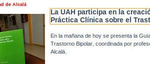 Presentación de La Guía de Práctica Clínica sobre Trastorno Bipolar en la Universidad de Alcalá